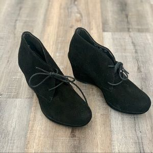 Clark's Collection black suede wedges